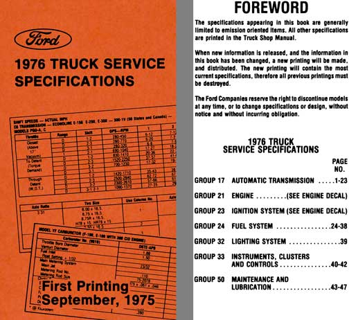 Ford 1976 - Ford 1976 Truck Service Specifications (First Printing September, 1975)