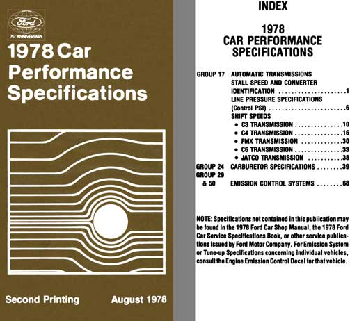Ford 1978 - Ford 1978 Car Performance Specifications (Second Printing)