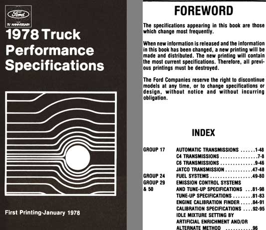 Ford 1978 - Ford 1978 Truck Performance Specifications (First Printing)
