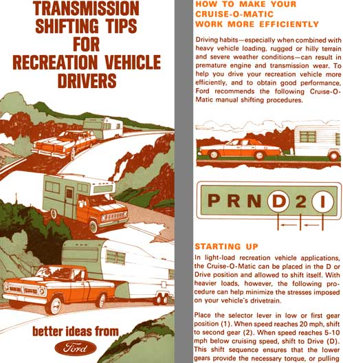 Ford 1978 - Transmission Shifting Tips for Recreational Vehicle Drivers