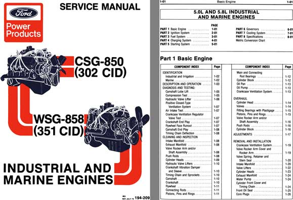 Ford 1979 - Ford Power Products Industrial and Marine Engines Service Manual CSG-850 & WSG-858