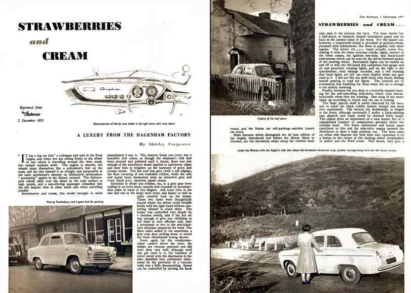 AutoCar 1955 - Strawberries and Cream - Ford Anglia 1955