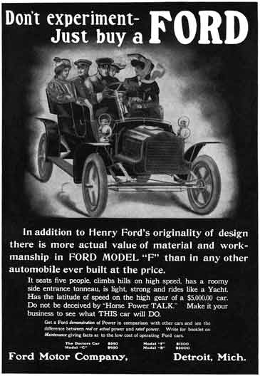 Ford c1929 - Ford Ad - Don't experiment - Just buy a Ford - Ford Model F