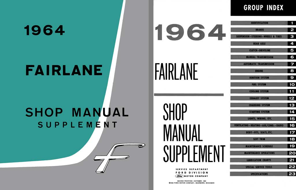 Ford Fairlane 1964 Shop Manual Supplement