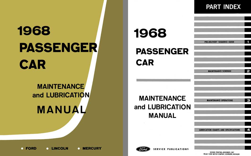 Ford Lincoln Mercury 1968 Passenger Car Maintenance and Lubrication Manual
