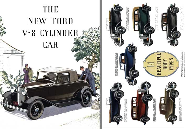 Ford Model 18 1932 - The New Ford V-8 Cylinder Car- 14 Beautiful Body Styles 1932