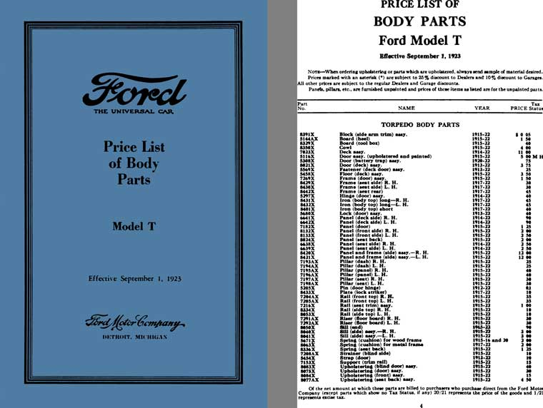 Ford Model T 1923 - Ford Price List of Body Parts Model T (September 1, 1923)