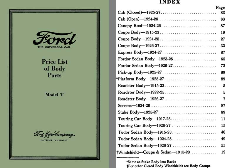 Ford Model T 1927 - Ford Price List of Body Parts Model T (March 15, 1927)