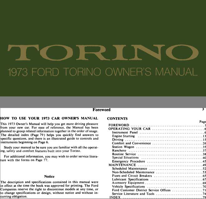 Ford Torino 1973 - Torino 1973 Ford Torino Owner's Manual