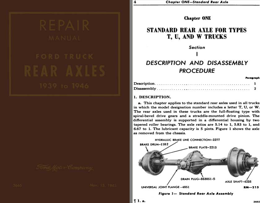 Ford Truck - Repair Manual Ford Trucks Rear Axles 1939 to 1946