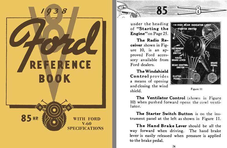 Ford V-8 1938 - 1938 V8 Ford Reference Book - 85HP with Ford V-60 Specifications