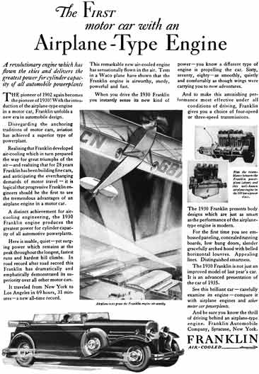 Franklin 1930 - Franklin Ad - The First Motor Car with an Airplane-Type Engine