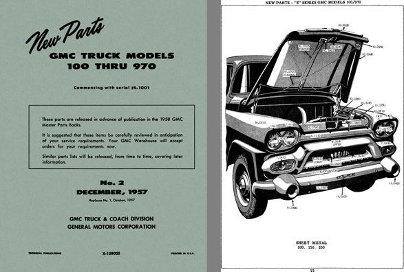 General Motors - New Parts GMC Truck Models 100 thru 970 No. 2 December, 1957  Commencing SN #S-1001