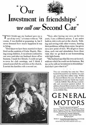 General Motors 1929 - General Motors Ad - Our Investment in friendships' we call our Second Car