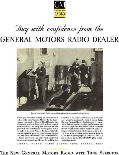 General Motors 1930 - GM Ad - GM Radio - Buy with confidence from the General Motors Radio Dealer