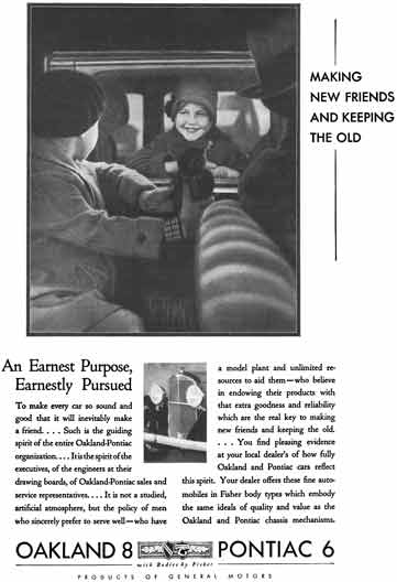 General Motors 1931 - GM Ad - Oakland 8 & Pontiac 6 - An Earnest Purpose, Earnestly Pursued