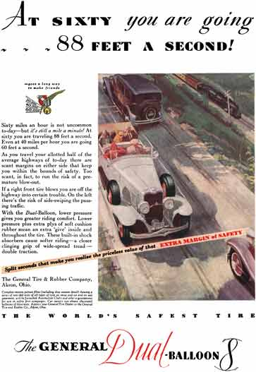 General Tire 1930 - General Tire Ad - At Sixty you are going… 88 Feet a Second!