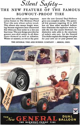 General Tire 1934 - General Ad - Silent Safety - The New Feature of the Famous Blowout-Proof Tire