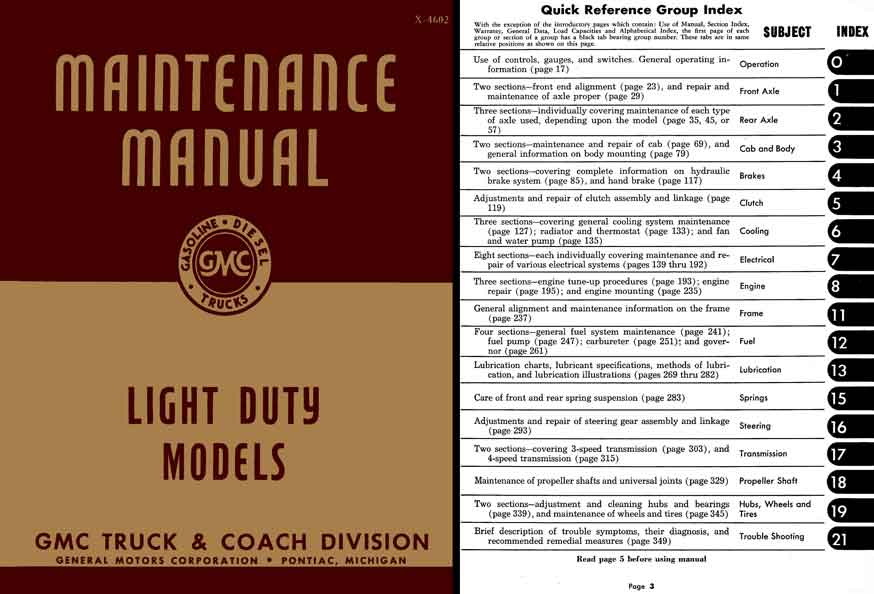GMC Maintenance Manual 1945-1946 Light Duty Trucks - Models CC & EC