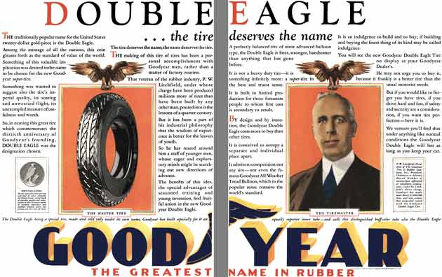 Goodyear Tire 1928 - Goodyear Tire Ad - Double Eagle …the tire deserves the name