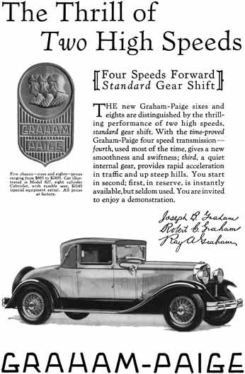 Graham Paige 1929 - Graham Paige Ad - The Thrill of Two High Speeds - Model 827 Cabriolet