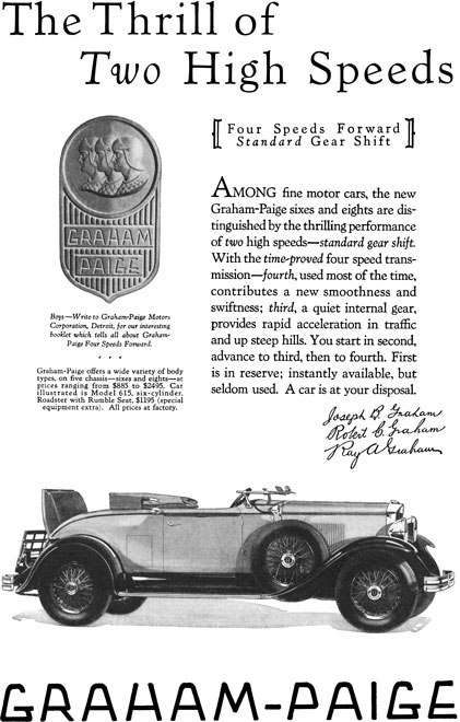 Graham Paige c1929 - Graham Paige Ad - The Thrill of Two High Speeds - Model 615