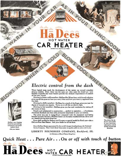HaDees 1930 - HaDees Ad - HaDees Hot Water Car Heater - Electric control from the dash