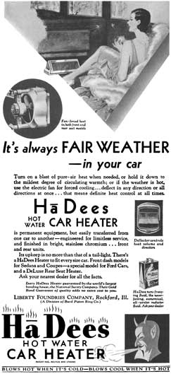 HaDees 1930 - HaDees Ad - It's always Fair Weather in your car - HaDees Hot Water Car Heater