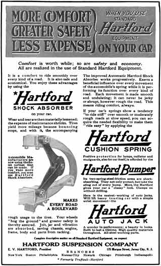 Hartford Suspension 1915 - Hartford Suspension Ad - More Comfort, Greater Safety, Less Expense
