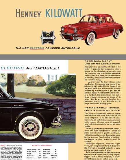 Henney c1959 - Henney Kilowatt - The New Electric Powered Automobile