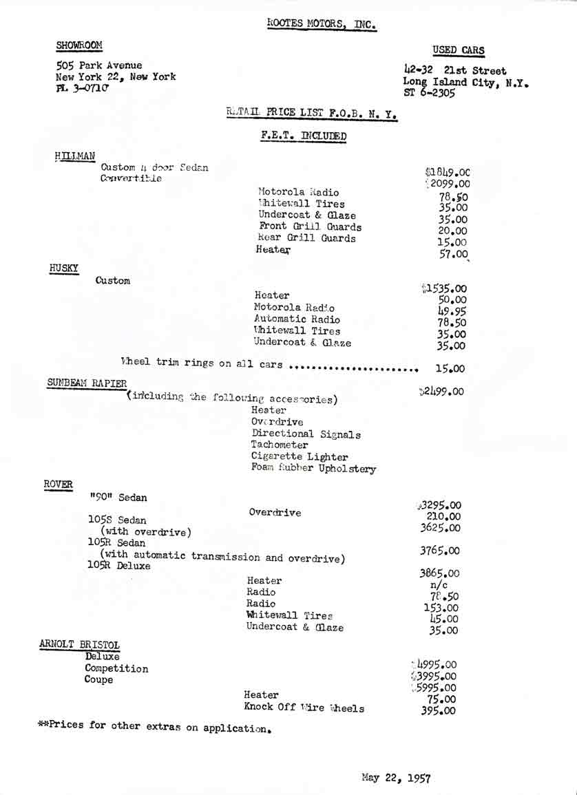 Hillman 1957 Retail Price List - Rootes Motors Inc.