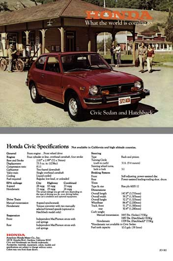 Honda 1977 - Honda - What the world is coming to.  Civic Sedan and Hatchback