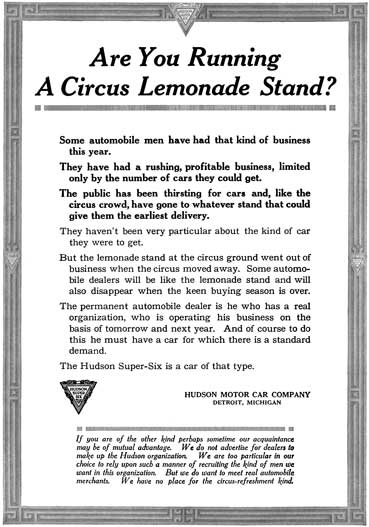 Hudson 1917 - Ad Reprint - Are You Running A Circus Lemonade Stand?