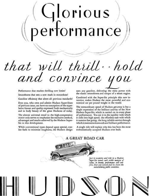 Hudson 1928 - Hudson Ad - Glorious performance that will thrill… hold and convince you