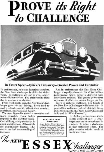 Hudson 1930 - Essex Challenger Ad - Prove its Right to Challenge - The New Essex Challenger