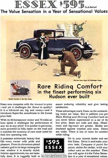 Hudson 1931 - Essex Ad - Essex $595 - The Value Sensation in a Year of Sensational Values