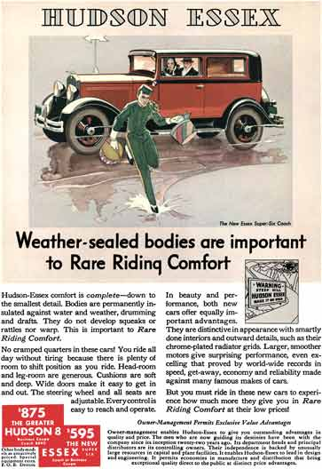 Hudson 1931 - Essex Ad - Hudson Essex  Weather-sealed bodies are important to Rare Riding Comfort