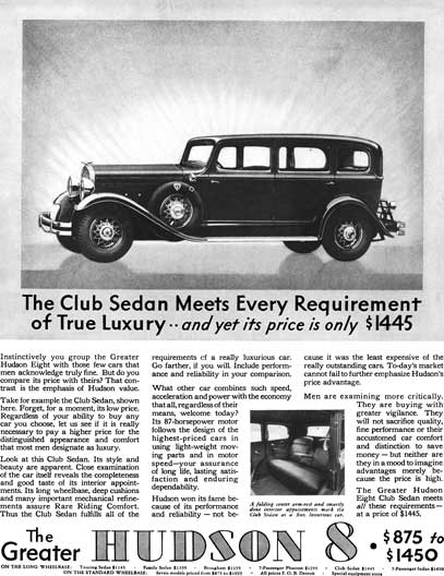 Hudson 1931 - Hudson Ad - Hudson 8 - The Club Sedan Meets Every Requirement of True Luxury…