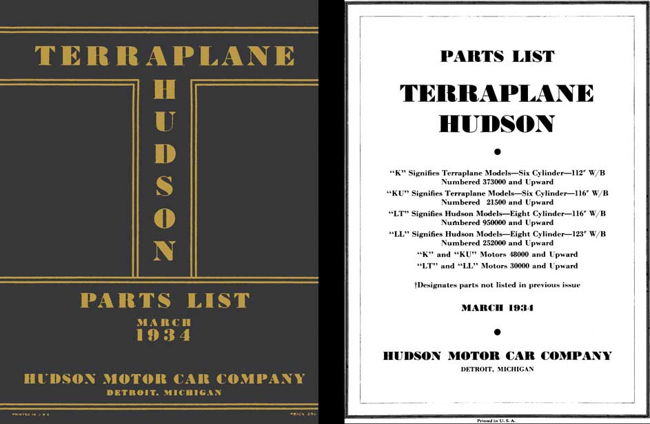 Hudson 1934 - 1934 Hudson Terraplane Parts List, March 1934