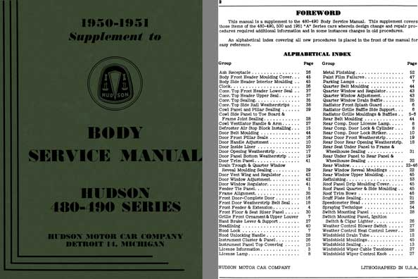 Hudson 1950 - Hudson Body Service Manual 480 - 490 Series 1950 - 1951 Supplement