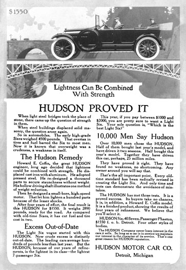Hudson c1916 - Hudson Ad - Lightness Can Be Combined With Strength Hudson Proved It