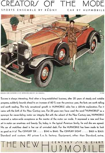 Hupmobile 1929 - Hupmobile Ad - Creators of the Mode Sports Ensemble by Regny… Car by Hupmobile