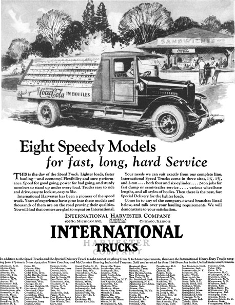 International 1928 - International Truck Ad - Eight Speedy Models for fast, long, hard Service