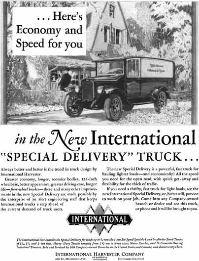 International Harvester 1928 - International Ad - Here's Economy and Speed for you in the New Intern