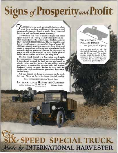 International Harvester 1929 - International Truck Ad - Signs of Prosperity and Profit