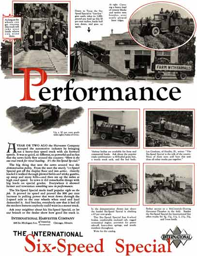 International Harvester 1929 - Truck Ad - Performance - The International Six-Speed Special