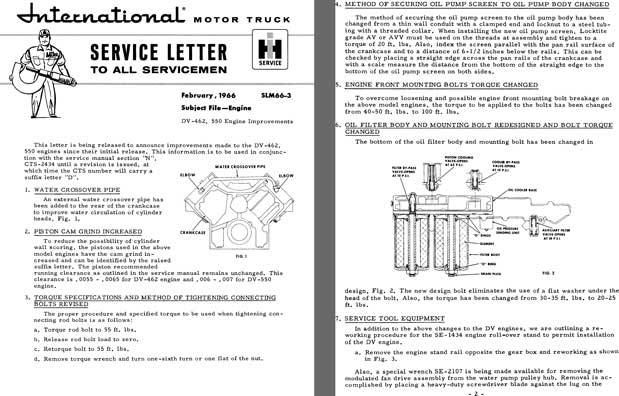 International Motor Truck Service Letter February, 1966 SLM66-3 Subject File - Engine