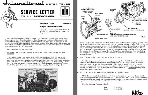 International Motor Truck Service Letter February, 1966 SLM66-4 Subject File - Fuel System