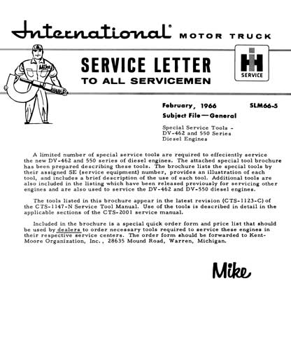 International Motor Truck Service Letter February, 1966 SLM66-5 Subject File - General