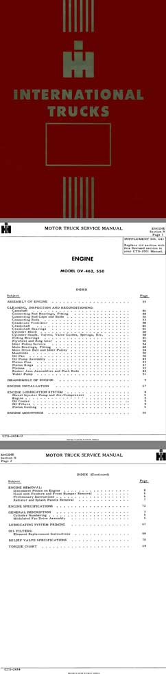 International Motor Truck Service ManualEngine Model DV-462, 550